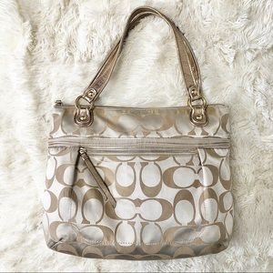 Coach Poppy Signature Sateen Glam Tote Bag Gold